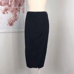 NWT Vintage Vakko Wrap Suede Midi Pencil Skirt